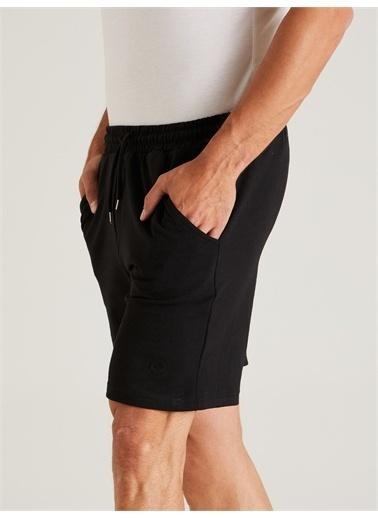 Dufy Grı  Düz  Erkek Short - Slım Fıt Siyah